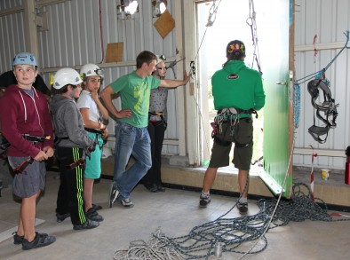 Rokt Climbing Gym's Open Day. Pictured are visitors ready to abseil