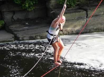 slackline and tyrolean over the river